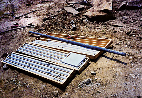 Core samples for logging and sampling. (Photo courtesy of Vulcan Materials Co.)