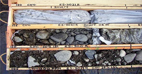 Example of a glacial till gravel deposit collected utilizing a sonic drill, typically used for sand and gravel deposits. (Image courtesy of Cascade Drilling.)