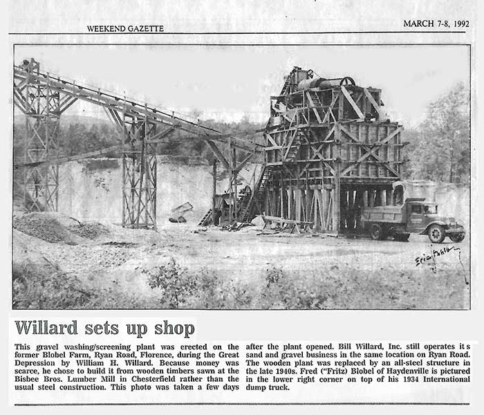 A local Massachusetts newspaper ran a photo of Bill Willard Inc.'s original wooden washing and screening plant, built by William H. Willard in 1934.