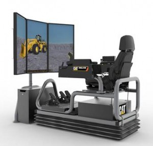 Caterpillar's Large Wheel Loader Simulator System features a three-monitor configuration that aims to increase operator visibility in all directions. Photo courtesy of Caterpillar