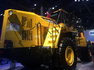Komatsu's WA600-8 wheel loader displayed at MINExpo International 2016 consumes 13 percent less fuel than its predecessor. Photo by Megan Smalley