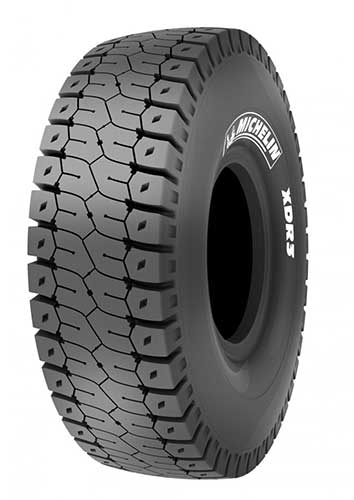Michelin's XDR3 MB4 surface mine-haul tire was designed for 400-plus ton trucks. Photo courtesy of Michelin