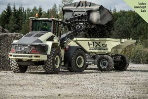 Volvo debuted its LX1 prototype hybrid wheel loader at its Xploration Forum. Photo courtesy of Volvo