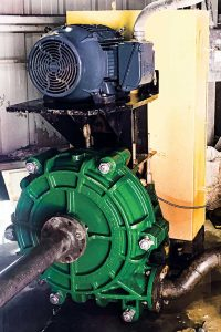 Short Mountain Silica's 4-in. x 3-in. x 20-in. high-head slurry pump delivers higher pressures because of a unique impeller geometry, according to Schurco Slurry, the pump manufacturer. Photo courtesy of Jimmy Smith