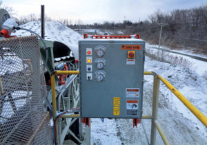 The control panel enclosure carries a NEMA-4 rating to withstand the elements. Photo courtesy of Martin Engineering