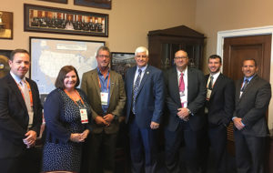 The Ohio delegation stormed Capitol Hill as part of NSSGA's Legislative & Policy Forum. Pictured from left are Franz Peters (Martin Marietta), Therese Dunphy (Aggregates Manager), Tim Rowan (CRH/The Shelly Company), Rep. Bob Gibbs (R-Ohio), Michael Hunt (Martin Marietta) and Pit & Quarry's Kevin Yanik and Rob Fulop. Photo by Ryan Dilworth.