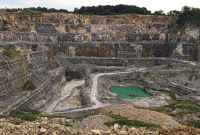 The Southeast Missouri Quarry in Cape Girardeau, Missouri, is 400 ft. deep and features 10 different benches that produce a variety of materials. Photo courtesy of Delta Companies
