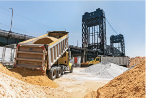 Gotham Aggregates' barge-loading facility is a conduit for New Jersey aggregate producers to the New York City market. Photo courtesy of Superior Industries