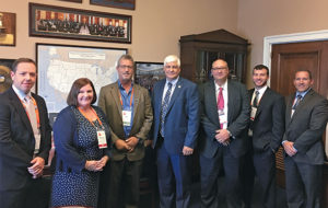 The Ohio delegation stormed Capitol Hill as part of NSSGA's Legislative & Policy Forum. Pictured from left are Franz Peters (Martin Marietta), Therese Dunphy (Aggregates Manager), Tim Rowan (CRH/The Shelly Company), Rep. Bob Gibbs (R-Ohio), Michael Hunt (Martin Marietta) and Pit & Quarry's Kevin Yanik and Rob Fulop. Photo courtesy of Ryan Dilworth