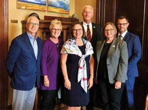 Several industry stakeholders paid a visit to Sen. Deb Fischer (R-Nebraska). From left: Patrick Gorup (CRH/Lyman-Richey), Carol White (CRH/Lyman-Richey), Fischer, Doug Lambert (Superior Industries), Emily Coyner (NSSGA) and John Garrison (Superior). Photo courtesy of John Garrison