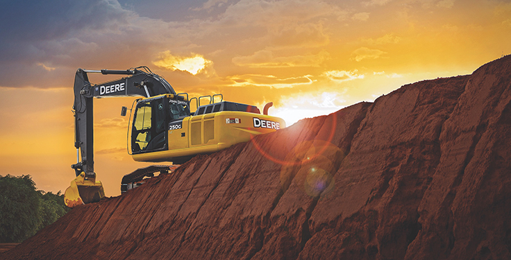 "More aggregate producers made a ""significant investment"" in an excavator and/or loader this year than in any other equipment category. Photo courtesy of John Deere"