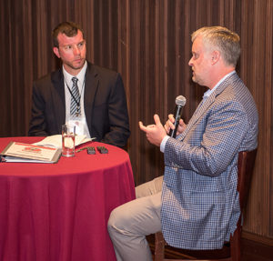 At the 2019 Pit & Quarry Roundtable & Conference, NSSGA's Michael Johnson, right, joined Pit & Quarry's Kevin Yanik for a discussion on legislative and regulatory affairs. Photo by PamElla Lee