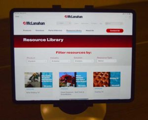 McLanahan offered a glimpse of its updated website via the McLanahan Dealer application. Photo by Allison Barwacz