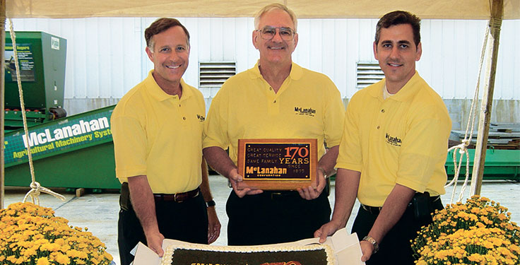 George Sidney, left, celebrated the 170th anniversary of McLanahan Corp. alongside Michael McLanahan, center, and Sean McLanahan back in 2005. Photo: McLanahan Corp.