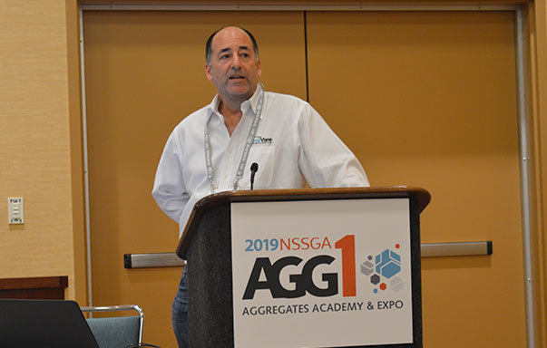DroneView Technologies' CEO Michael Singer discusses the considerations for integrating a drone into an aggregate operation. Photo by Allison Barwacz