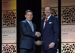 Weldon Materials' Bob Weldon, right, success CRH Materials Americas' Randy Lake as NSSGA chairman. Photo courtesy of NSSGA