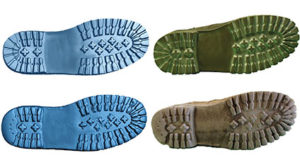 he images on the top show a 3-D scan, left, and a photograph, right, of a maintenance worker's boot before it was given to a miner. The bottom images show the 3-D scan and photo of that same boot after being worn to work at a mine for 15 months. The treads on the heel are completely worn away, leaving no channels. Treads are also worn away from the ball of the foot to the point that the fluid evacuation channels are severely diminished. Photo courtesy of NIOSH