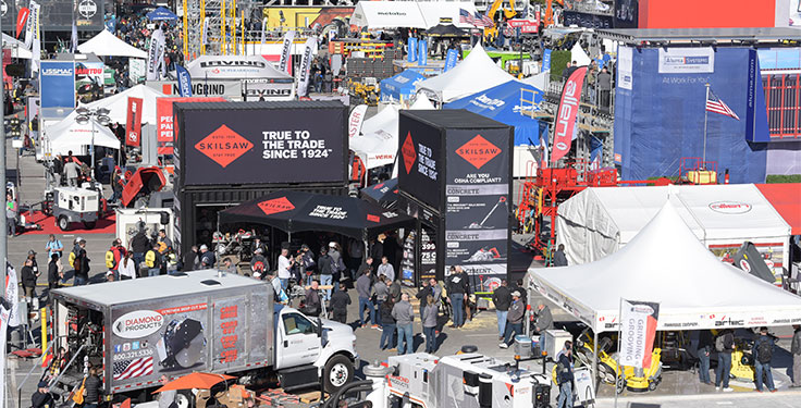 Indoor and outdoor exhibits were available to those who attended World of Concrete 2019 at the Las Vegas Convention Center. Photo courtesy of Informa Exhibitions