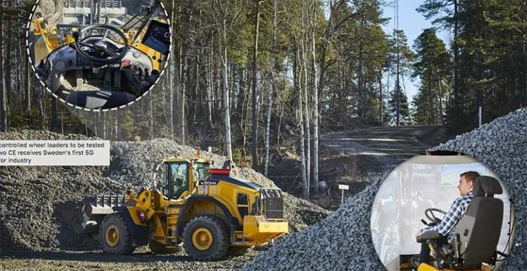 According to Volvo CE, 5G will make remote control simpler and safer, and also offer a solution for handling massive amounts of data with guaranteed connection. Photo courtesy of Volvo CE