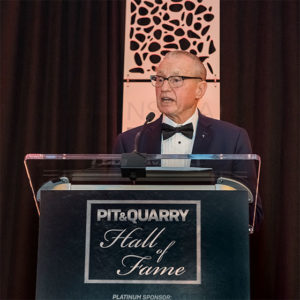 "Manfred Freissle touched on his signature development, synthetic modular screen media, during his Hall of Fame induction speech. Says Freissle: ""We proved it over many years."" Photo by PamElla Lee Photography."