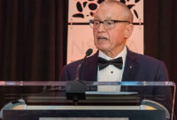 """Manfred Freissle touched on his signature development, synthetic modular screen media, during his Hall of Fame induction speech. Says Freissle: """"We proved it over many years."""" Photo by PamElla Lee Photography."""