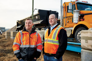 Midwest Concrete Materials Vice President Chris Eichman, left, and Command Alkon GM Scott Dugan. Photo courtesy of Command Alkon.