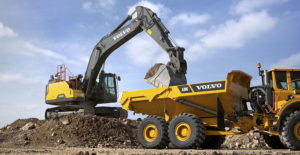 The forthcoming EC300E Hybrid excavator's boom-down motion charges energy-storing accumulators that are used to power the hydraulic pump. Photo courtesy of Volvo CE
