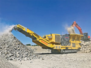 The B7e jaw crusher, weighing just under 69 tons is highly mobile, according to Keestrack. Photo courtesy of Keestrack