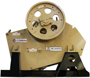 Telsmith's Hydra-Jaw H2238 jaw crusher is available in stationary, tracked and wheeled configurations. Photo courtesy of Telsmith.