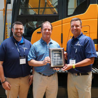 From left: Chad Parker Sr. HCEA product specialist; Rick Cloninger, Border Rents branch manager; and Shaun Galligan, HCEA district manager of the Southeast. Photo courtesy of HCEA