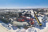 The Aggregate Expo is held every three years in early March, often in snowy and cold conditions in Fargo, North Dakota. Photo courtesy of General Equipment