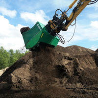 The Cobra screening buckets can be integrated with mini to full-sized excavators, wheel loaders, backhoes and telehandlers, the company says. Photo courtesy of Ransome Attachments