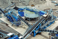 An aerial view of the Hawaiian Cement plant, with the AquaCycle thickener positioned in the center. According to CDE, the AquaCycle recycles up to 90 percent of used water. Photo courtesy of CDE