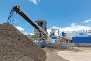 Hawaiian Cement's new plant produces up to 345 tph of aggregate used in concrete products. Photo courtesy of CDE