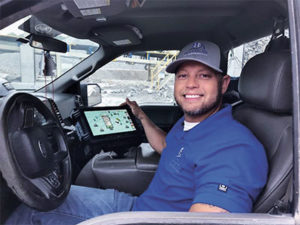 Haydon Materials' Brad Trulock monitors the plant from the comfort of a truck.