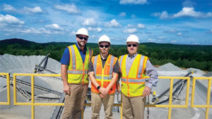 From left: Stuart Haydon, JB Haydon and David Haydon atop their brand-new finish plant at the Airport Road Quarry. Photo by Kevin Yanik.