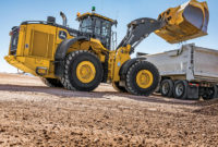 The John Deere L-Series wheel loaders are supported by the John Deere Connected Support offering. Photo courtesy of John Deere