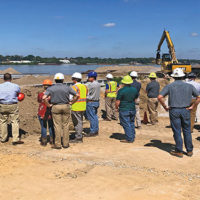 Participants in the Kentucky Crushed Stone Association's Emerging Leaders program have visited industry sites around the Bluegrass State, including this Nugent Sand Co. operation on the Ohio River in Louisville, Kentucky. Photo courtesy of Kentucky Crushed Stone Association.
