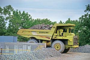 The operation currently utilizes four Euclid R35 rigid-frame haulers in its load-and-haul application, but 60-ton trucks could be in Quality Stone & Ready Mix's future. Photo by Kevin Yanik.