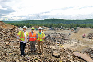 Emerald Equipment owner Mike Tormey, center, with Quarry Management CEO Steve Caruso, left, and vice president of operations Pep Hunsicker. Photo courtesy of Jamie Harthoorn.