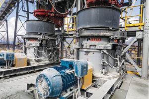 Mainland's tertiary crushing circuit includes a pair of P400 Patriot cone crushers. Photo courtesy of Superior Industries