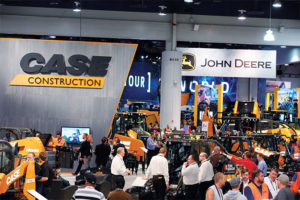 The exhibits of mobile equipment OEMs such as Case Construction Equipment and John Deere will surely be draws, as 53 percent of producers tell P&Q they intend to explore excavators and loaders at ConExpo-Con/Agg 2020. Photo courtesy of ConExpo-Con/Agg
