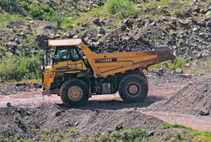 While Caterpillar is the preferred brand on loaders at Myrl & Roy's Paving, the company favors Komatsu on haul trucks because of their ability to endure strenuous use and avoid downtime. Photo courtesy of Myrl & Roy's Paving