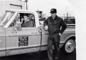 Roy Schultz, left, and Myrl Unzelman launched the business more than five decades ago with a $500 dump truck, a rake, a shovel and their determination. Photo courtesy of Myrl & Roy's Paving