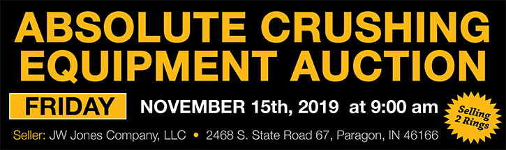 J.W. Jones Company absolute crushing equipment auction set for Nov. 15; bid online or in person