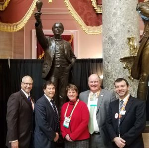 Rep. Troy Balderson (R-Ohio), second from left, visits with members of the Ohio delegation during the 2019 NSSGA Legislative & Policy Forum. Pictured from left are OAIMA's Pat Jacomet, Balderson, Julie and Chris Nawalaniec of Steadman Machine Co. and P&Q's Kevin Yanik. Photo courtesy of Kevin Yanik