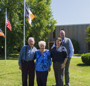 Philippi-Hagenbuch has remained family-owned since its founding in 1969. The company is now led by Danette Swank (middle right), L.B.'s granddaughter and LeRoy's daughter. LeRoy (left) continues with the company as chief engineer. Also pictured are Josh Swank, vice president of sales and marketing, and Pat Hagenbuch. Photo courtesy of Philippi-Hagenbuch