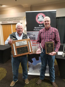 Journagan Construction received MLPA's Hillenkamp-Rush Meritorious Safety Award, which is given to only one company in Missouri each year and is based on the company's safety record. John View, vice president at Journagan is pictured at left with the award alongside Ash Grove Aggregates' Keith Stevens, who serves as MLPA board president. Photo courtesy of MLPA