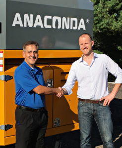 Sean McLanahan, left, and Alistair Forsyth began exploring opportunities for synergy between McLanahan Corp. and Anaconda Equipment a few years ago. Photo courtesy of McLanahan Corp.