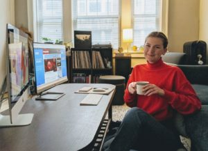 Sarah Peecher, P&Q's digital producer, enjoys music and coffee while working from home during the coronavirus pandemic. Click to enlarge | Photo: P&Q Staff.